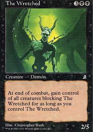 the creature is not as wretched @tercuis: because the attacking player controls the scythe of the wretched the wording on this card reads by equipped creature not by the equipment.